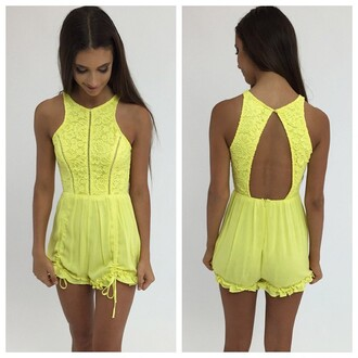 romper yellow playsuit yellow romper lace yellow lace peppermayo
