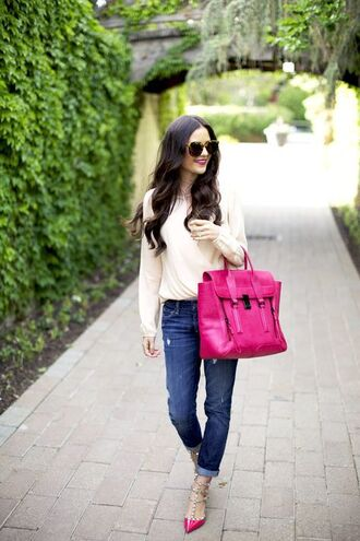 bag pink pashli rach parcell valentino rockstud shoes cream blouse phillip lim pink satchel pashli phillip lim satchel blogger style streetstyle casual pink peonies boyfriend jeans valentino rockstud valentino ballerina flats animal print sunglasses