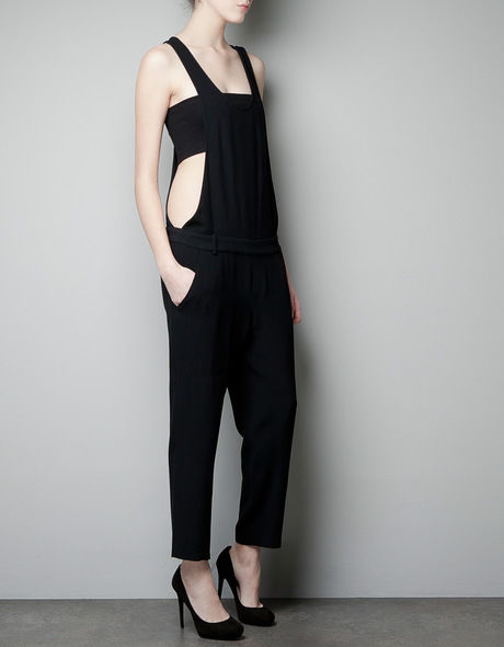 Zara woman black dungaree style jumpsuit playsuit size medium m
