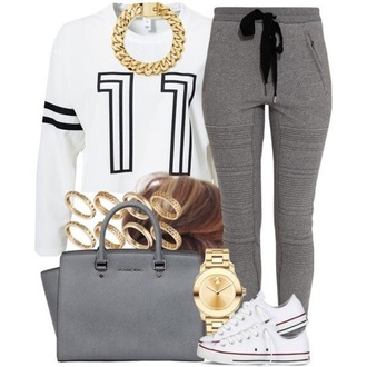 pants grey sweatpants kors mk handbags michel kors grey pants gold chain necklace numbered sweater black and white shirt sweater