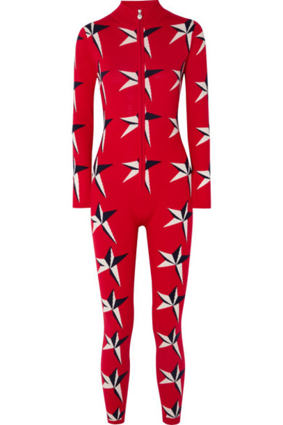 Perfect Moment - Star Ii Intarsia Merino Wool Jumpsuit - Red