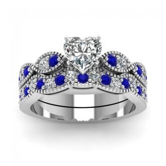 jewels ring set heart diamond ring set stunning eye shape design heart shaped diamond wedding set with blue sapphire bridal ring set wedding ring set blue sapphire ring set engagement ring and wedding band set evolees.com