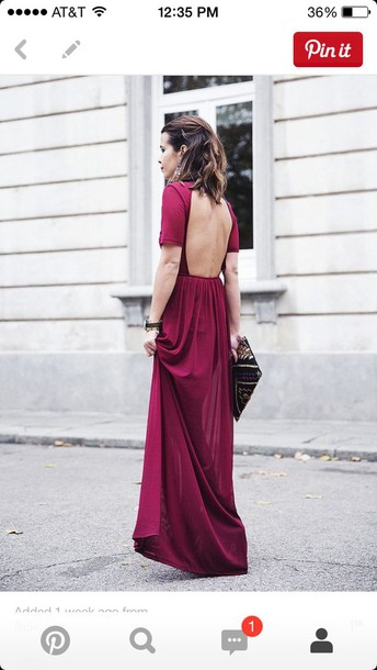 dress long backless short sleeve dress