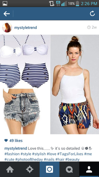 swimwear blue swimwear stripes blue stripes high waisted bikini high waisted short high waisted denim shorts