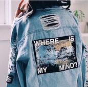 jacket,denim,blue denim,blue,graphic tee,grunge