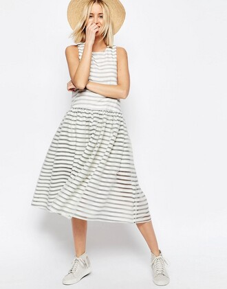 dress summer dress white dress stripes sundress