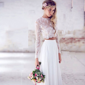 dress prom dress white lace lace dress top long sleeve crop top boho dress white dress crochet dress two-piece pretty style two pieces prom dresses boho bride boho boho wedding dress blouse skirt shirt lace top boho shirt
