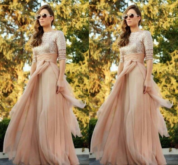 2016 Sparkly Cheap Maid Of Honor Dress A Line Sexy Crew Long Sleeve Sequins Ruffles Floor Length Chiffon Bridesmaid Dresses Custom Made Online With
