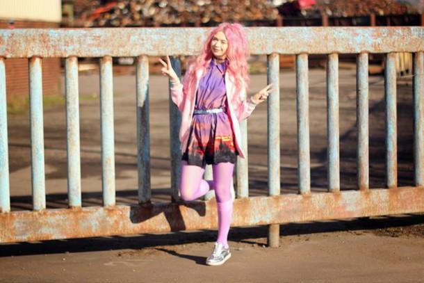 kayla hadlington blogger print pink top jacket tights socks