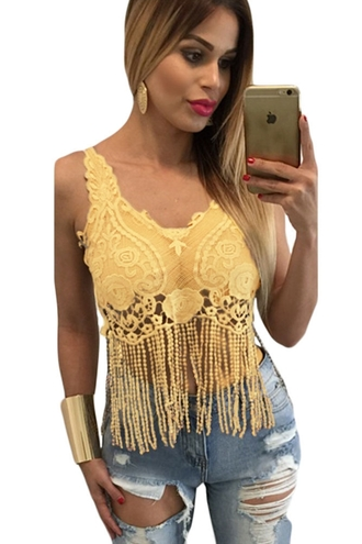 top rosy t-shirt crop tops lacy tops sexy tops cute chic girly vest tops wots-hot-right-now mustard boho crochet top