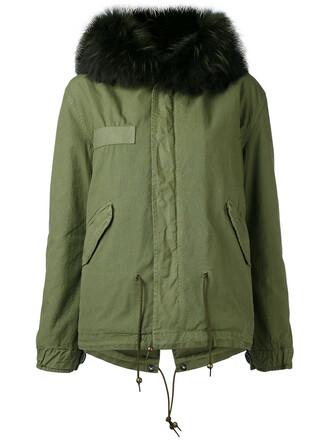 parka short fur women leather cotton green coat