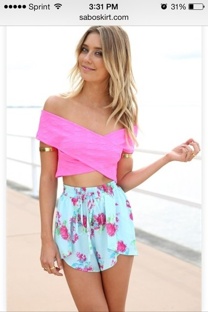 Shorts: pants, baggy pants, cute, blue shorts, floral, flowered ...