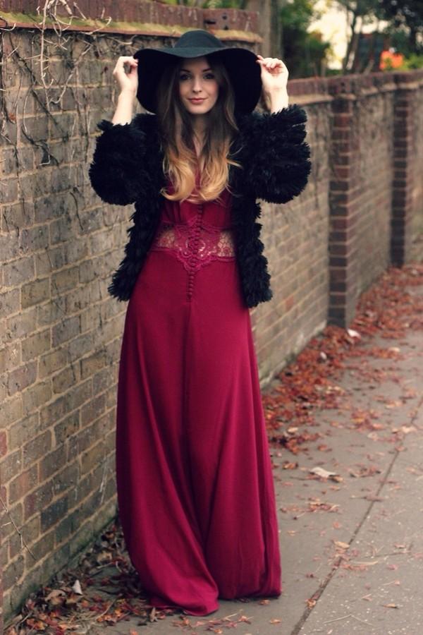 dress maxi dress lace waist burgundy