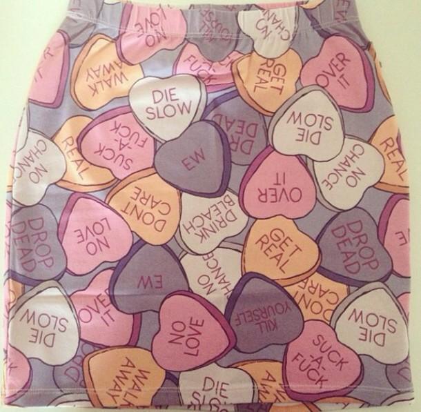 skirt, heart, heart, purple, love hearts, sugar hearts ...