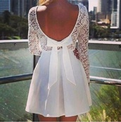 dress,bow,white,lace