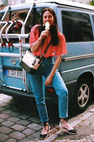 bag top red top chanel gabrielle hobo bag chanel chanel bag denim jeans blue jeans espadrilles