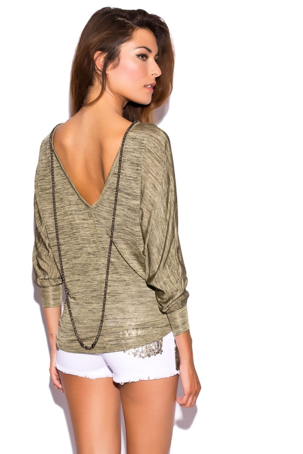 Kaki top with drop Neck and Chain Detail - Q2 Shop - Tienda de moda online