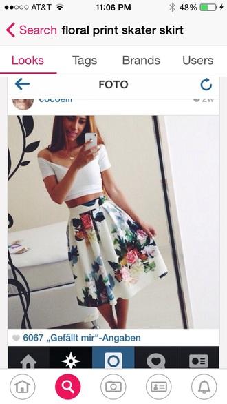 skirt floral print skater skirt floral skirt white floral skirt with flowers skater skirt shirt