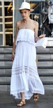 dress,strapless,white,white dress,jaime king,summer dress,maxi dress,hat,le fashion image,blogger,shoes