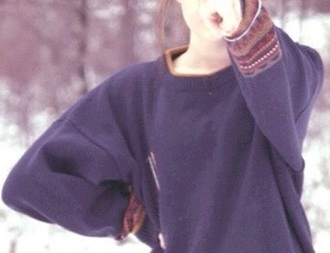 top jumper blue top blue jumper brown red white top pretty woman big oversized oversized sweater winter sweater