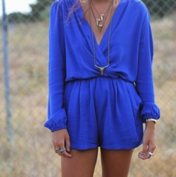 blue cobalt romper jumpsuit jumper