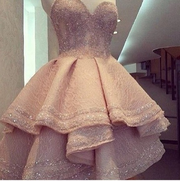 dress strapless dress glitter dress pink dress lace pale pink