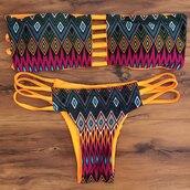 swimwear,bikini,pattern,summer,beach,strapless,orange,trendsgal.com
