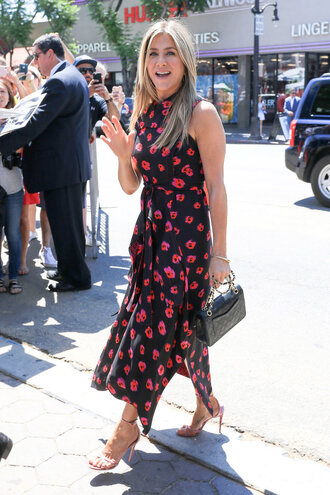 dress floral floral dress jennifer aniston sandals sandal heels asymmetrical summer dress midi dress