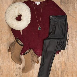 scarf booties necklace white scarf cute burgundy leather leather pants brown booties dangling long necklace long sleeves winter outfits winter sweater