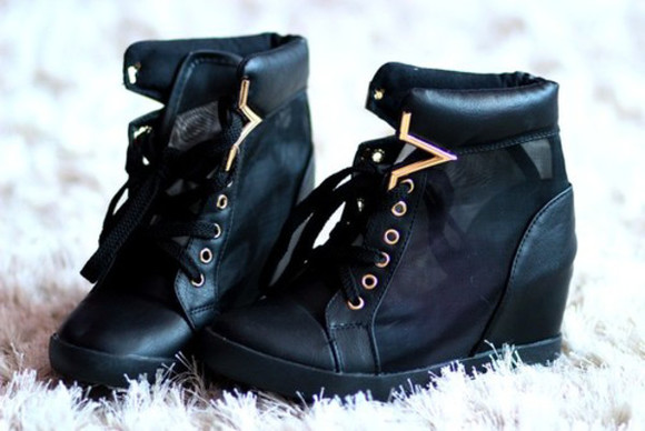 shoes wedge black cool style sneakers