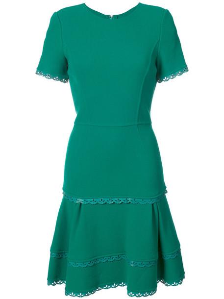 oscar de la renta dress flare dress flare women spandex wool green