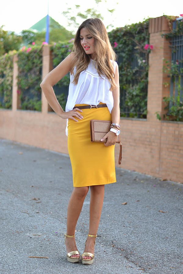 mi aventura con la moda blogger skirt top bag make-up lemongrass