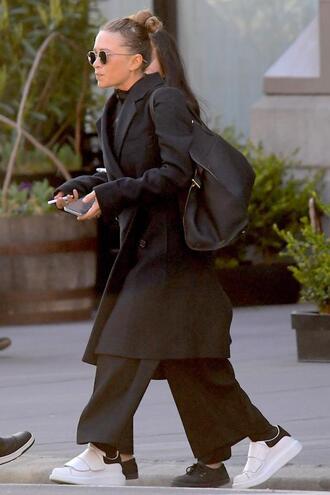olsen sisters blogger sunglasses coat bag pants shoes celebrity