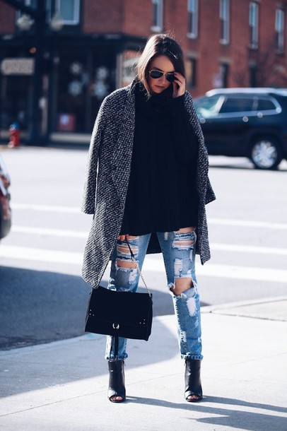 fashionably kay blogger coat sweater jeans bag shoes jewels grey coat winter outfits ripped jeans black bag ankle boots peep toe boots