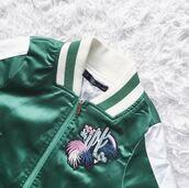 jacket,green,dark,embroidered,cactus,white,satin,satin bomber,bomber jacket,utility jacket