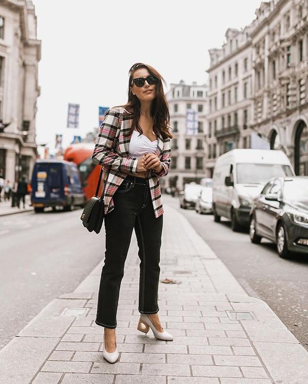 jacket blazer top shoes bag sunglasses pants black pants white shoes