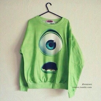 jacket sweater monsters inc monster university green sweater hipster swag monster disney mike wazowski shirt style pajamas top