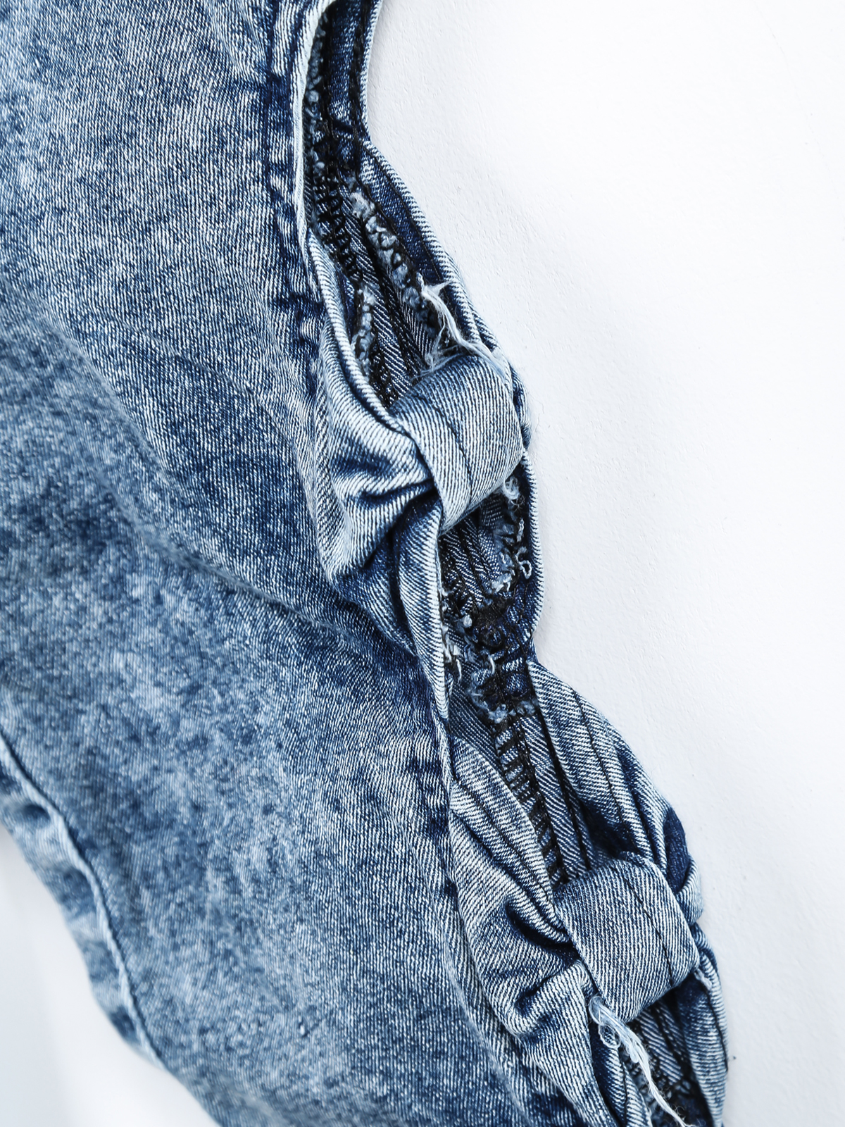 Blue Hollow Bow Denim Pant - Sheinside.com