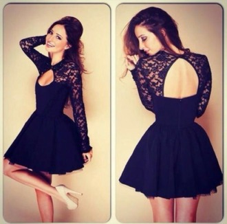 dress black dress black lace dress long sleeve dress lace cutout dress
