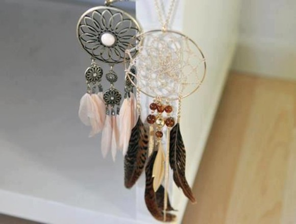 jewels feathers feather attrape reve dreamcatcher dream catcher plume perles feather drop fan necklace feather necklace