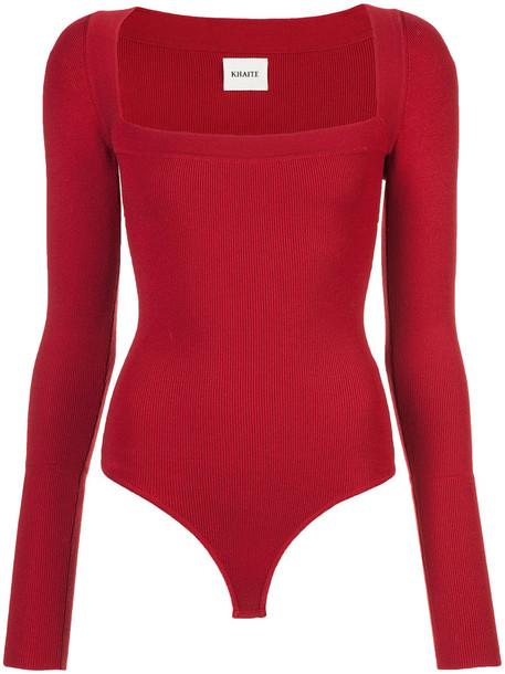 KHAITE jumper women spandex wool red sweater