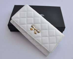 Chanel Bow Lambskin Leather Bi-Fold Wallet A37252 White [CH-1613]