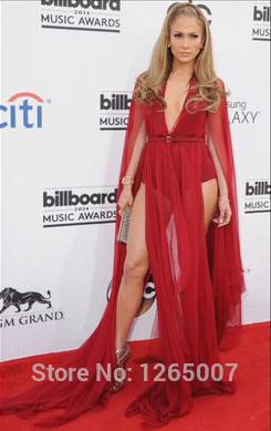 Aliexpress.com : Buy Jennifer Lopez Deep V Neck Long Sleeves Ruffles Red High Slit Sexy A Line Celebrity Dress New Fashion For Party from Reliable fashion clutch suppliers on SFBridal