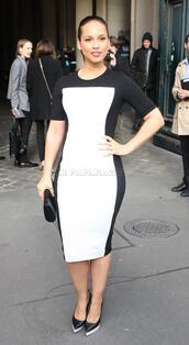 dress,heels,purse,alicia keys,black and white