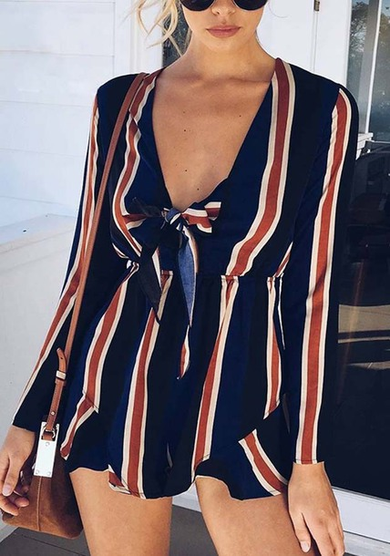 32164786d0 romper long sleeves red blue stripe romper deep plunging fashion women  clothing casual clothes jumpsuit red