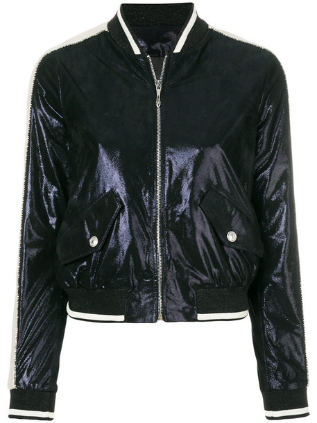 just cavalli jacket bomber jacket metallic women blue