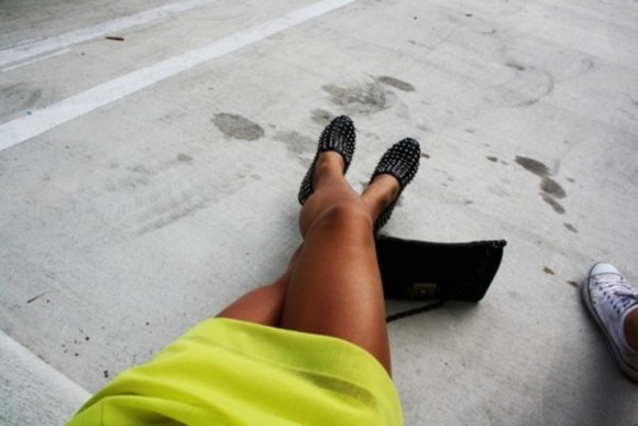 studded shoes black slippers studs lime skirt black bag