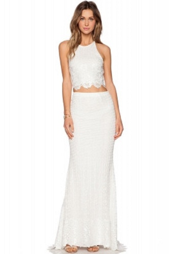 skirt white lace white lace skirt set cross back bridal lace maxi skirt set maxi party skirt cute two piece lace two piece wots-hot-right-now white two-piece