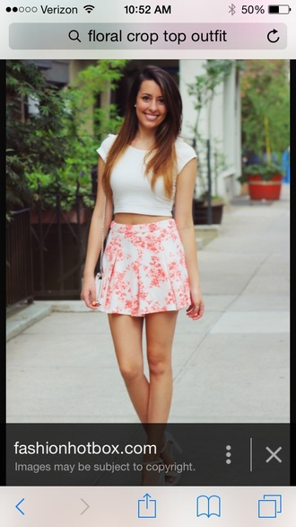 skirt skater skirt floral skirt crop tops white crop tops circle skirt top