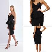 dress,peplum dress,black dress,little black dress,sexy dress,keepsake